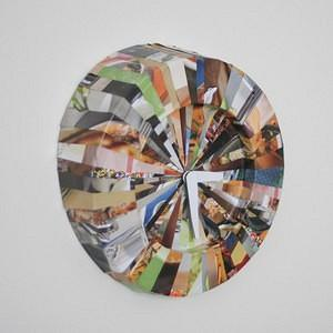 striped recycled clock