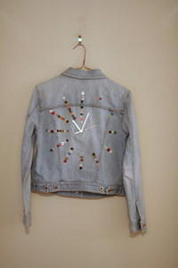denim button jacket clock